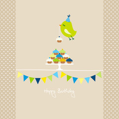 Flying Green Bird 10 Cupcakes 2 Buntings Beige Dots