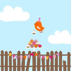 Flying Orange Bird 10 Cupcakes Fence 2 Buntings Blue