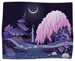 Photo sur Plexiglas Monde magique Fantasy nightly landscap. Vector illustration.