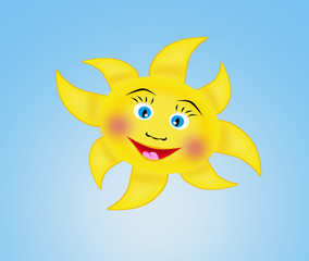Happy bright sun vector illustration on blue sky background
