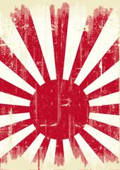Fond de hotte en verre imprimé Affiche vintage Japan grunge flag