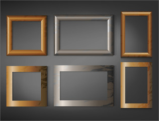Seto of wooden frames on wall