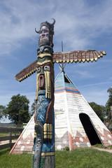Printed kitchen splashbacks Indians A colorful totem pole in Western City, Sciegny, Poland