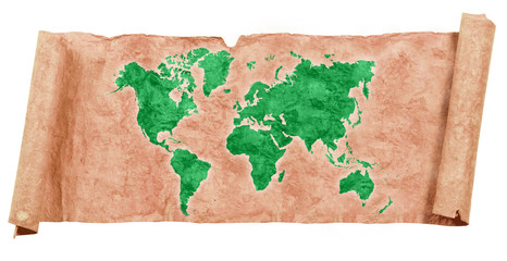 World map on grunge papers and scrolls