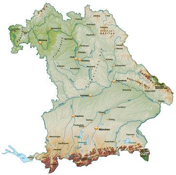 Landkarte von Bayern mit Schummerung
