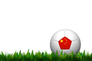 3D Soccer balll China Flag Patter on green grass over white back
