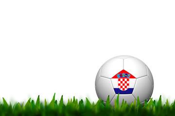 3D Soccer balll Croatia Flag Patter on green grass over white ba