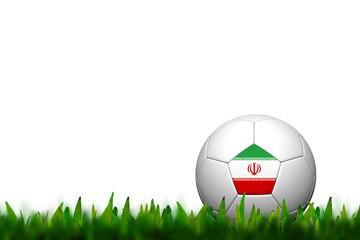 3D Soccer balll Iran Flag Patter on green grass over white backg