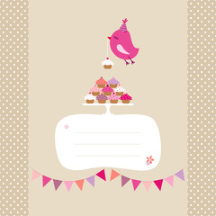 Flying Pink Bird 10 Cupcakes Buntings Speech Bubble Beige Dots