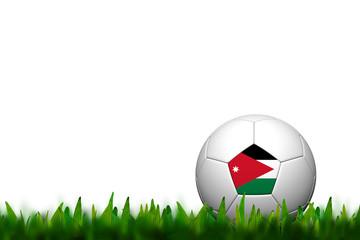 3D Soccer balll Jordan Flag Patter on green grass over white bac