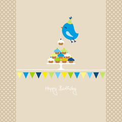 Flying Blue Bird 10 Cupcakes Bunting Beige Dots