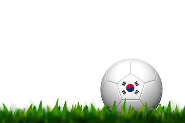 3D Soccer balll Korea Flag Patter on green grass over white back