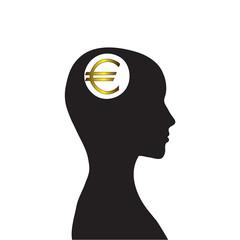 Money in my head, vector, euro
