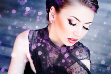 very beautiful model wearing make-up