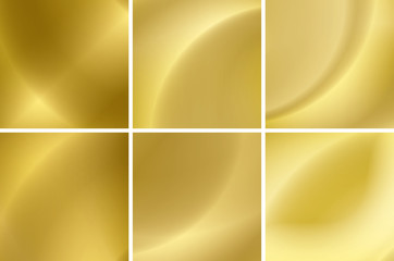 set of abstract gold neon backgrounds - vector