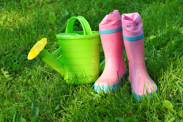 Garden can and waterproof boots