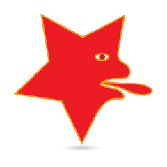 Abstract red star face