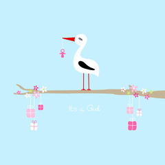 """Tall Stork Pink Pacifier On Tree Gifts """"It´s a Girl"""" Blue"""
