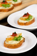 Canapes with hake and potatoes mashed