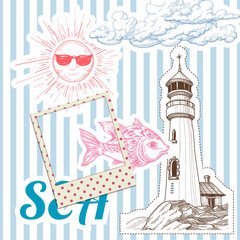 Vacation at sea background, marine elements