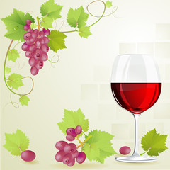 Glass of red wine and grapes