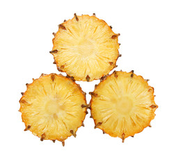 sliced pineapple on white background