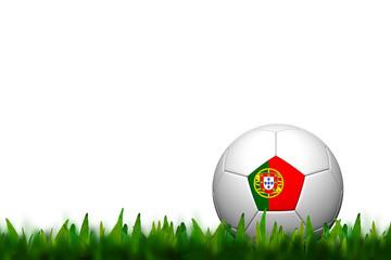 3D Soccer balll Portugal Flag Patter on green grass over white b