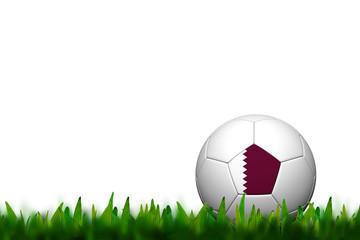 3D Soccer balll Qatar  Flag Patter on green grass over white bac