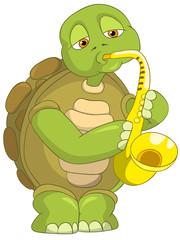 Funny Turtle. Saxophonist.