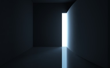 High narrow exit to the light from the black space.