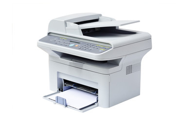 Grey computer printer isolated