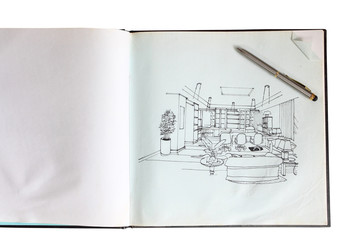 Graphical sketch by pen of an interior living room