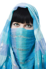 Close up picture of  woman wearing a veil