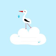 Keuken foto achterwand Hemel Tall Stork Blue Pacifier Speech Bubble Cloud Blue