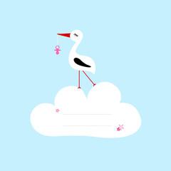 Keuken foto achterwand Hemel Tall Stork Pink Pacifier Speech Bubble Cloud Blue