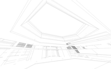Wireframe of 3D building