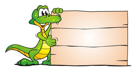 Crocodile beside Board