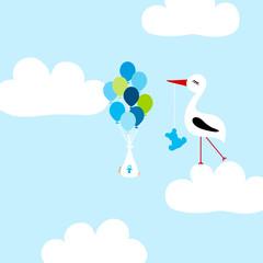 Keuken foto achterwand Hemel Tall Stork With Teddy Cloud Baby Boy Balloons Blue