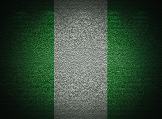 Nigeria flag wall, abstract grunge background