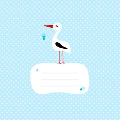 Tall Stork Blue Pacifier Speech Bubble Blue Hearts