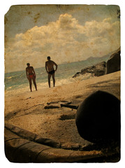 Family on holiday, Seychelles. Old postcard.