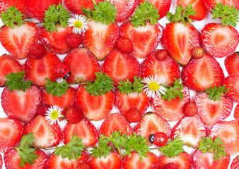 Sliced Strawberries, healthy background