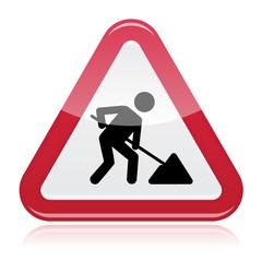 Road works sign, under construction