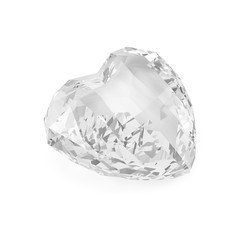 Diamond in Shape of Heart  on white background