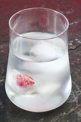 iced water glass with ice cubes