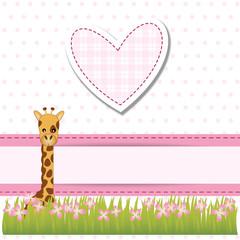 baby shower - bimba - cuore rosa con giraffa