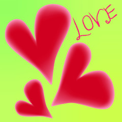 The hearts vector illustration on yellow green bright background