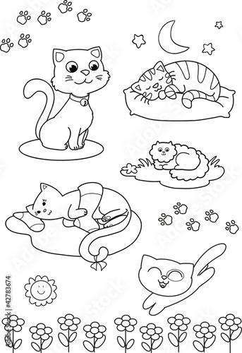 Cinque gatti carini da colorare per bambini immagini e for Immagini gatti da colorare