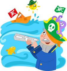 Foto op Plexiglas Piraten Bambino che gioca a fare il pirata, vettoriale.