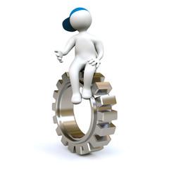 3D Man sitting on gear-wheel
